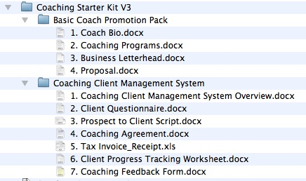 List of files in the Coaching Starter Kit