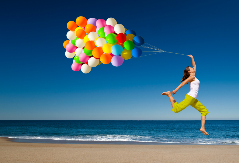 lady with balloons